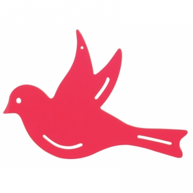 Tuindecoratie vogel voor aan de muur roze 25 cm
