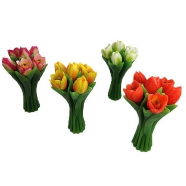 Tulpen boeket gekleurde drijfkaarsen 22 cm