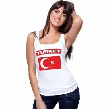 Turkije vlag mouwloos shirt wit dames