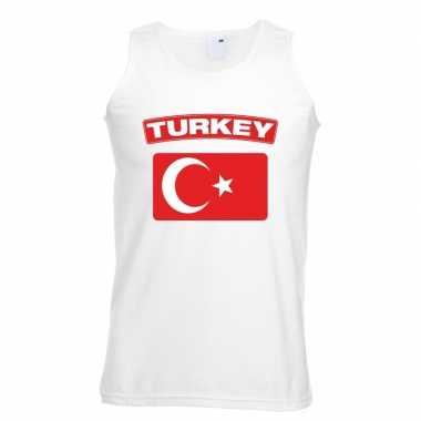 Turkije vlag mouwloos shirt wit heren