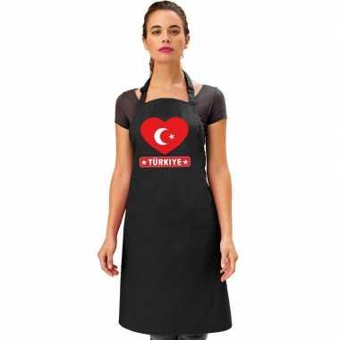 Turkse vlag in hart keukenschort/ barbecueschort zwart heren en dames