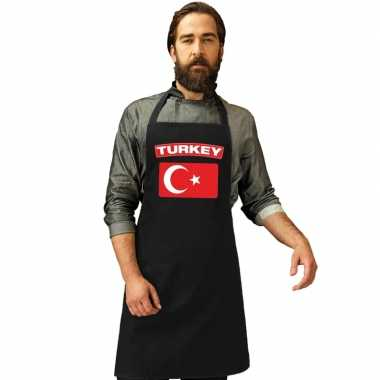 Turkse vlag keukenschort/ barbecueschort zwart heren en dames