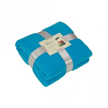 Turquoise blauw fleece deken
