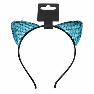 Turquoise blauwe katten/poezen oortjes verkleed diadeem voor meisjes