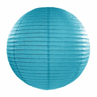 Turquoise blauwe lampion rond 35 cm