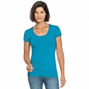 Turquoise dames shirt met ronde hals