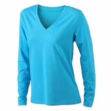 Turquoise dames stretch shirts lange mouw