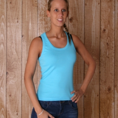 Turquoise dames topje mouwloos