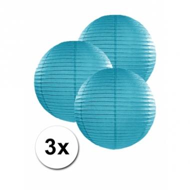 Turquoise lampionnen 25 cm 3 stuks