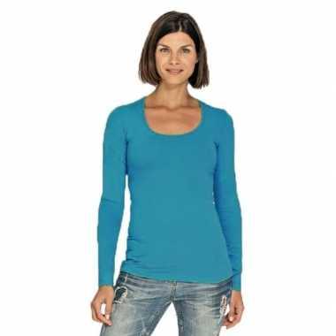 Turquoise longsleeve shirt met ronde hals voor dames