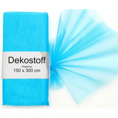 Turquoise organza stof op rol 150 x 300 cm