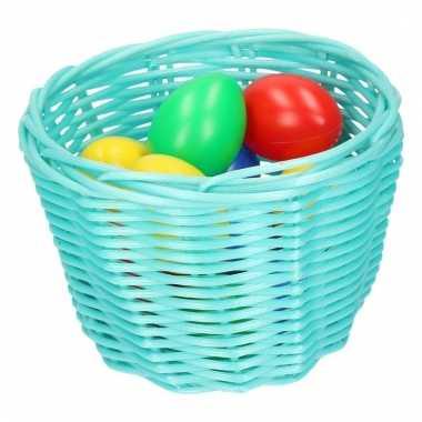Turquoise paaseieren mandje met gekleurde eieren 14 cm