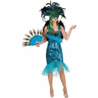 Turquoise pauwveren jurk