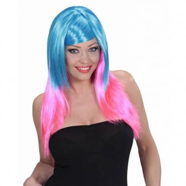 Tweekleurige damespruik blauw roze