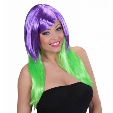 Tweekleurige damespruik paars groen