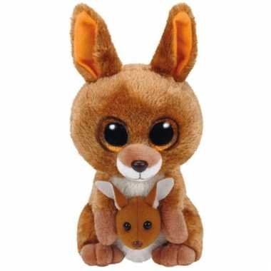 Ty beanie boo's pluche kangoeroe 15cm bruin