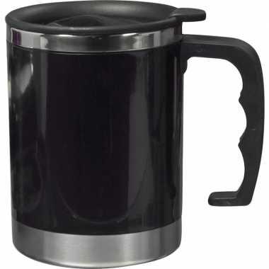 Vacuum thermos beker 400 ml zwart
