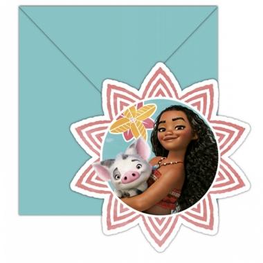 Vaiana uitnodigingen met enveloppe