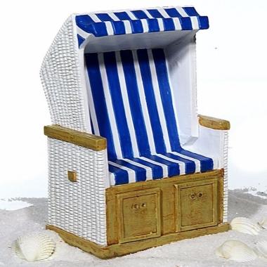 Vakantie spaarpot keramiek blauw met wit