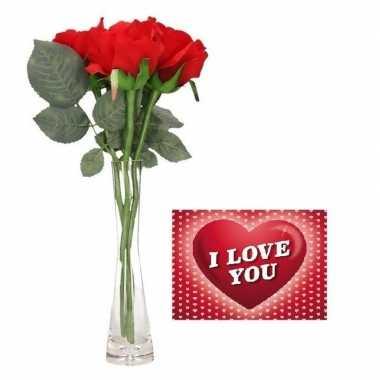 Valentijn 3 rode rozen boeket cadeau in vaas met valentijskaart