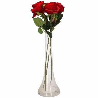 Valentijn 3 rode rozen boeket cadeau in vaas