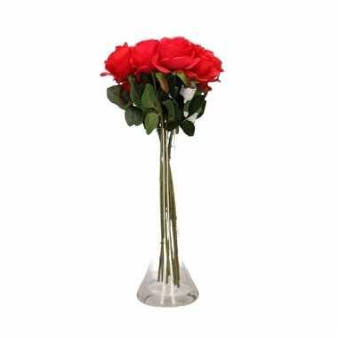 Valentijn 8 rode rozen boeket cadeau in vaas