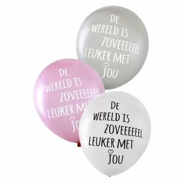 Valentijn ballonnen metallic de wereld is zoveel leuker met jou 6 stu