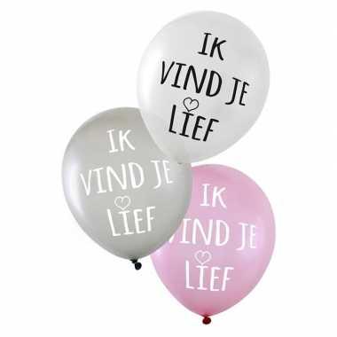 Valentijn ballonnen metallic ik vind je lief 6 stuks