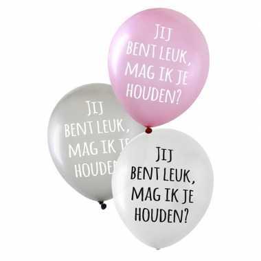 Valentijn ballonnen metallic jij bent leuk, mag ik je houden? 6 stuks