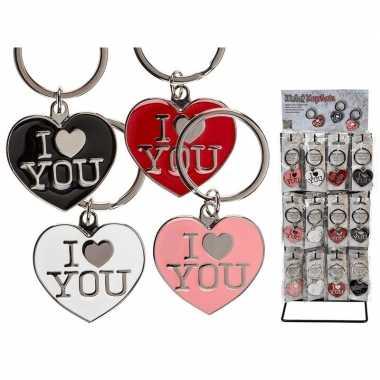 Valentijn cadeautje roze sleutelhanger i love you
