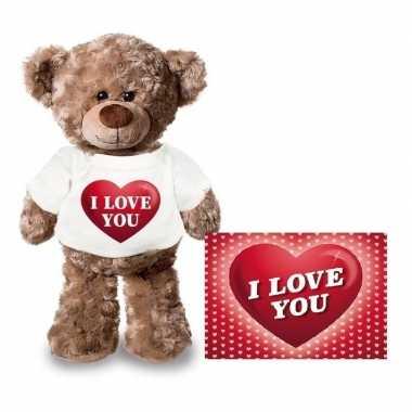 Valentijn i love you hart knuffelbeertje met ansichtkaart