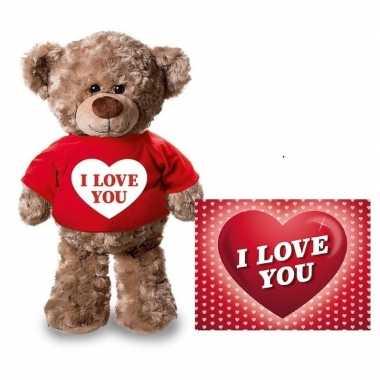 Valentijn i love you hart knuffelbeertje rood met ansichtkaart