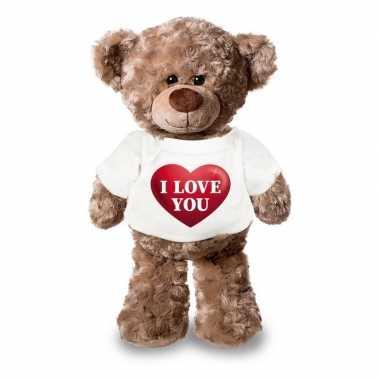 Valentijn i love you knuffelbeer met hartje 24 cm