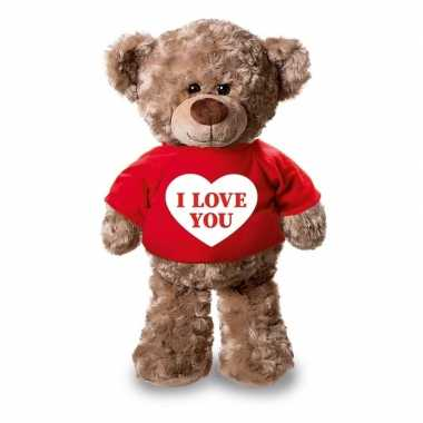 Valentijn i love you knuffelbeer rood shirtje 24 cm