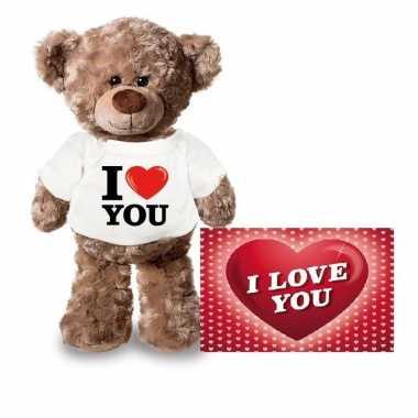 Valentijn i love you knuffelbeertje met ansichtkaart