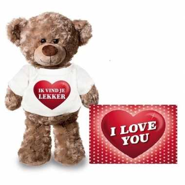 Valentijn ik vind je lekker hart knuffelbeertje met ansichtkaart