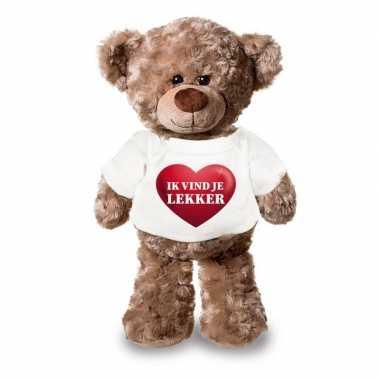Valentijn ik vind je lekker knuffelbeer met hartje 24 cm