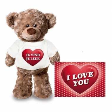 Valentijn ik vind je leuk hart knuffelbeertje met ansichtkaart
