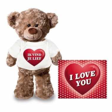 Valentijn ik vind je lief hart knuffelbeertje met ansichtkaart