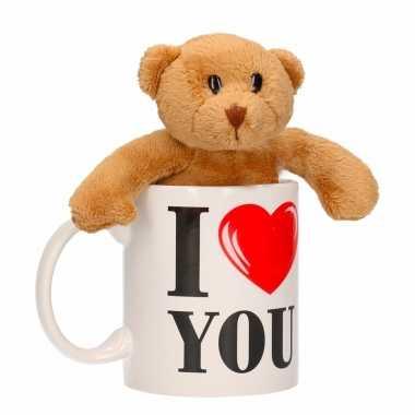 Valentijn kado i love you beker met beertje