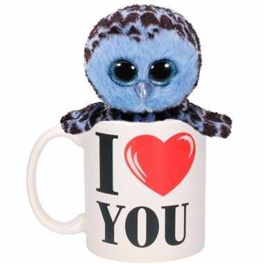Valentijn kado i love you beker met blauwe pluche uil