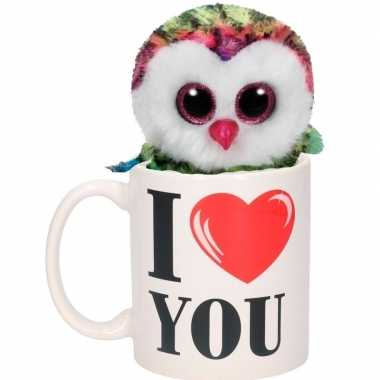 Valentijn kado i love you beker met gekleurde pluche uil