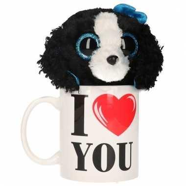 Valentijn kado i love you beker met pluche hond