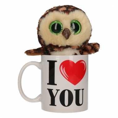 Valentijn kado i love you beker met pluche uil