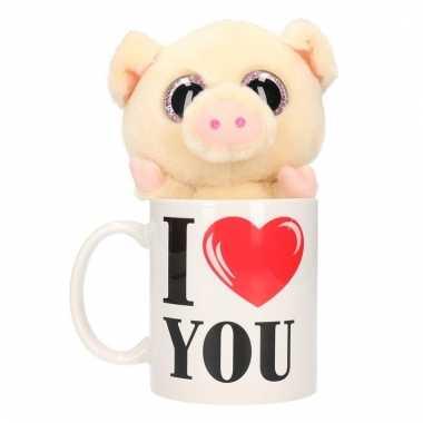 Valentijn kado i love you beker met pluche varken/big