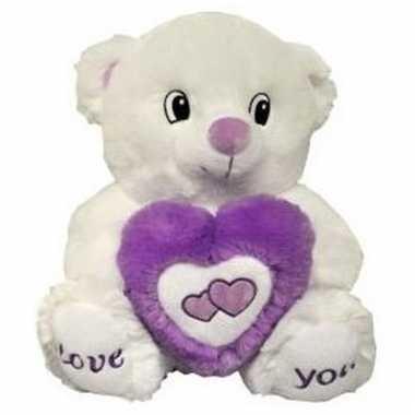 Valentijn knuffelbeer kado love you 31 cm paars/wit