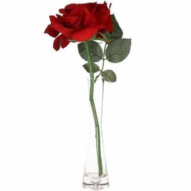 Valentijn rode kunstroos cadeau in smal vaasje