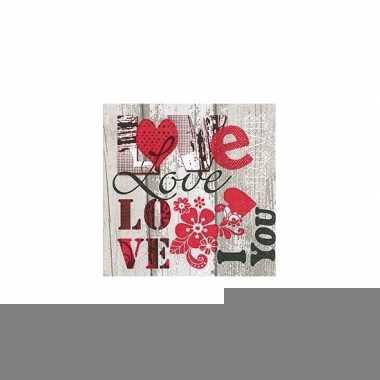 Valentijn servetten i love you 20x