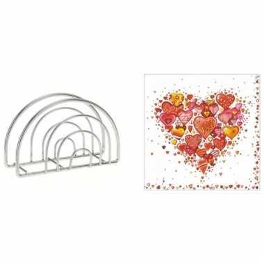 Valentijnsdag diner servethouder met gekleurde hartjes servetten