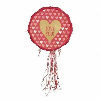 Valentijnsdag pinata rood hartje 40 cm